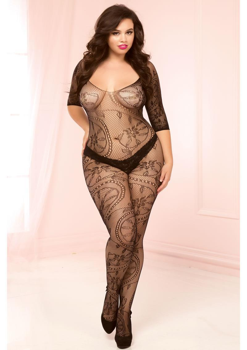 3/4 Sleeve Opencrotch Bodystocking-blk-x