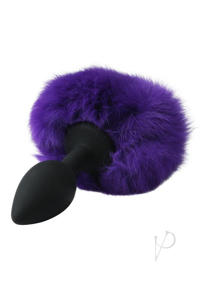 Midnight Silicone Bunny Butt Plug Black And Purple